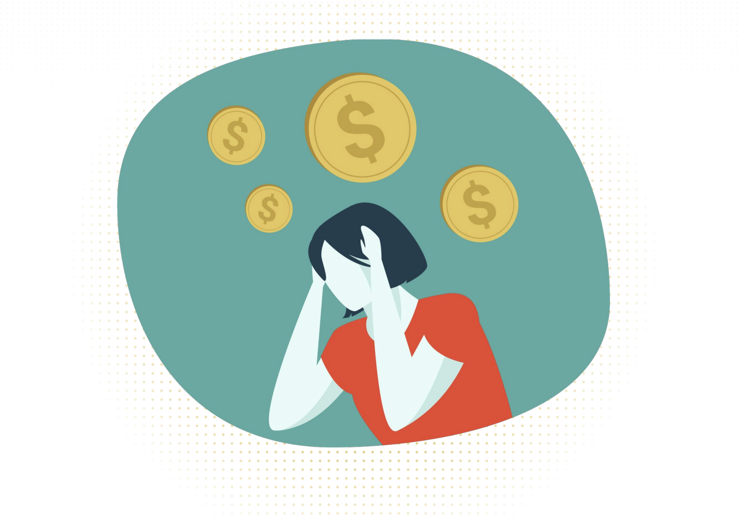 Woman in a red shirt stressed about her financial wellbeing