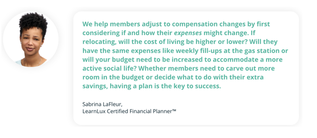 Quote from LearnLux Planner Sabrina about localized pay and financial wellbeing