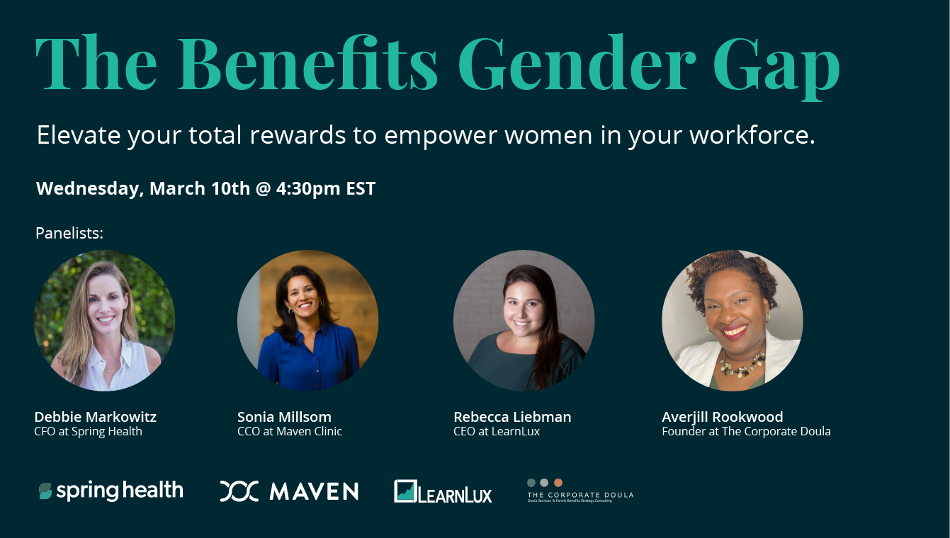 The Benefits Gender Gap flyer featuring Spring Health, Maven, LearnLux and The Corporate Doula