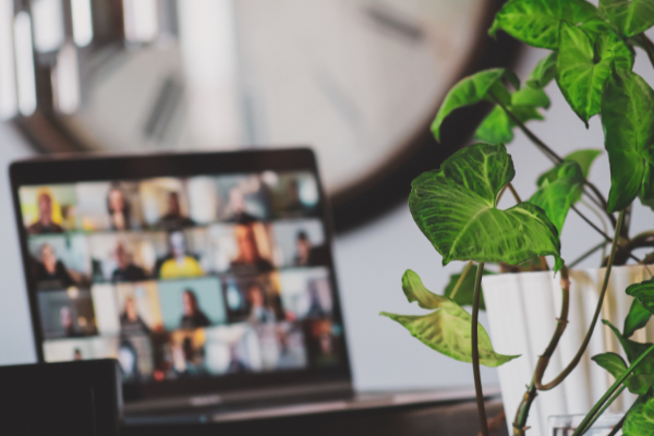 A group of employees on video chat are supported by financial wellbeing, mental health, physical wellbeing benefits and more.